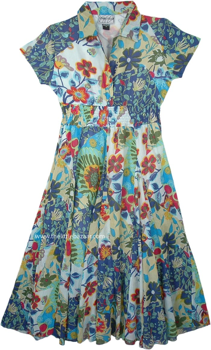 Summer Boho Wear Maxi Shirt Dress in Multicolor Floral
