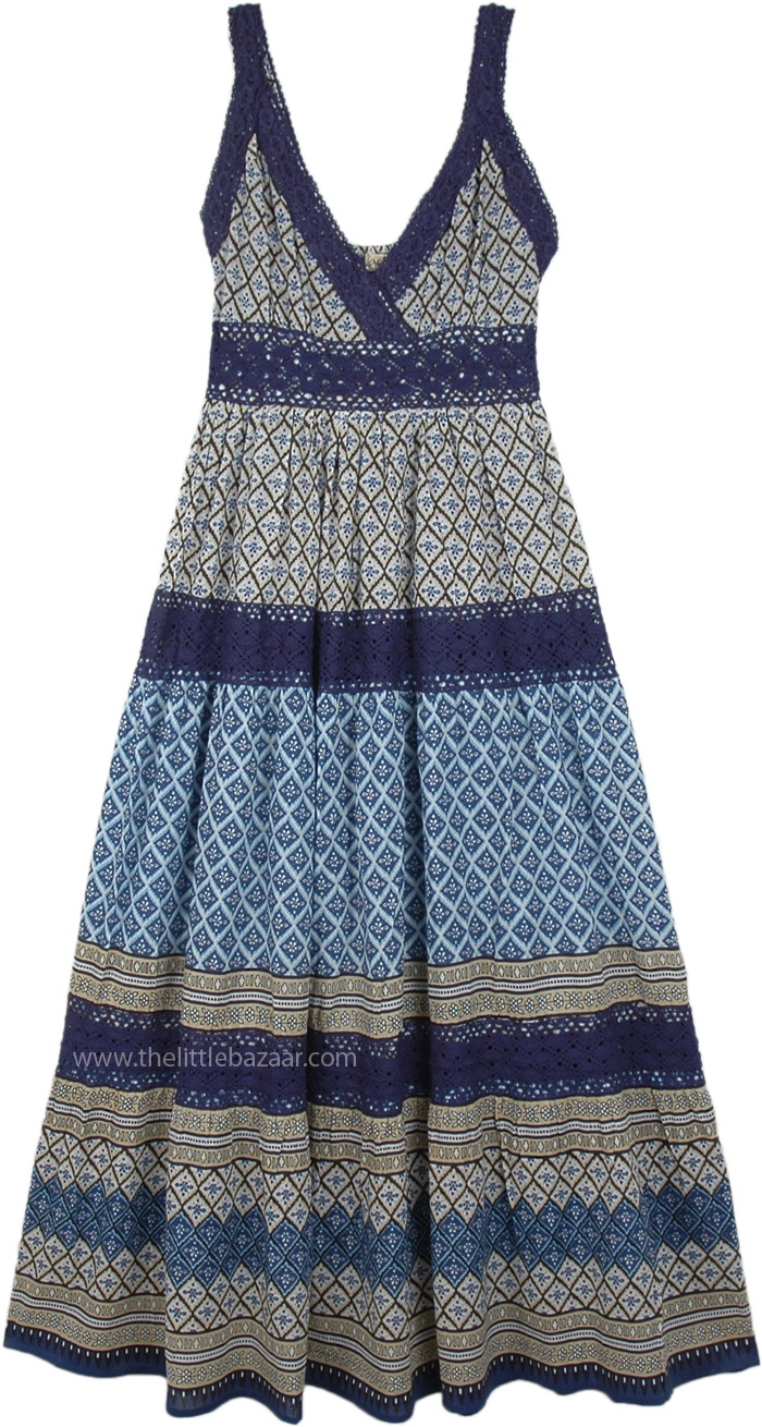 Sleeveless Cotton Hippie Long Dress with Crochet Lace