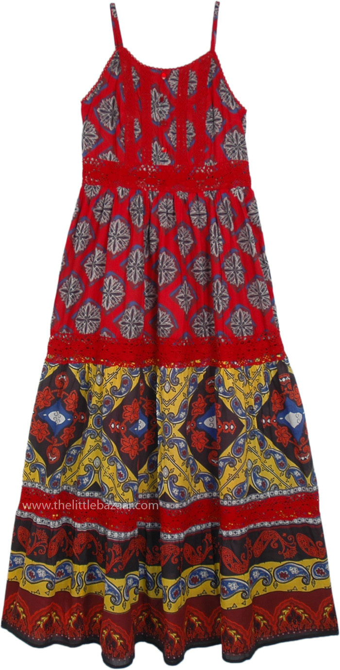 Lovely Red Printed Sleeveless Cotton Hippie Summer Dress