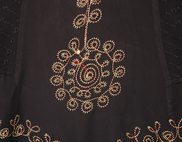Medieval Styled Black Western Rodeo Embroidered Dress