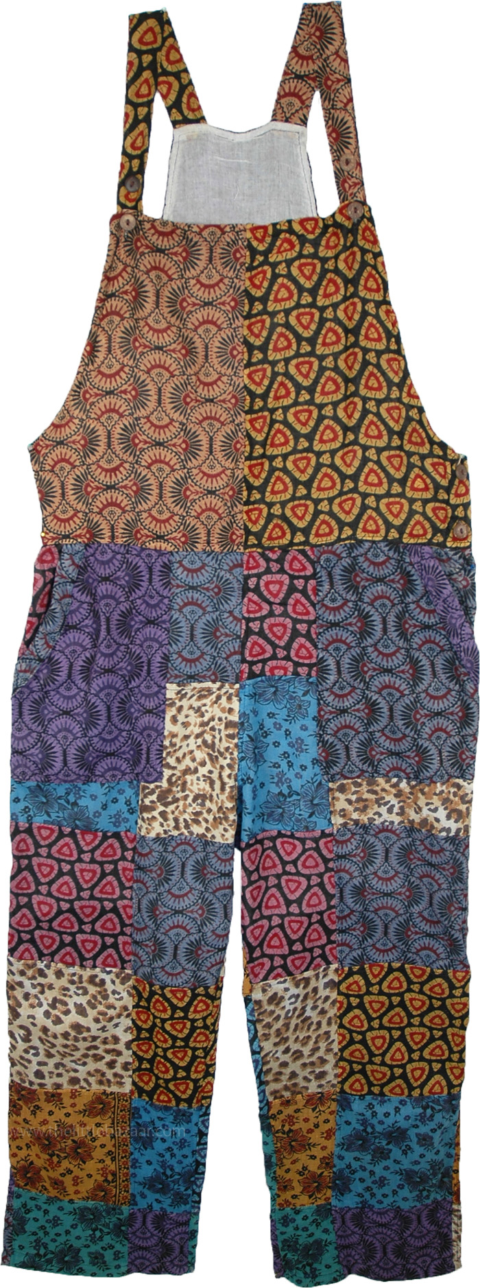 Pixie Print Patchwork Cotton Overalls Dungarees