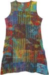 Rainbow Clouds Tie Dye Patchwork Sleeveless Dress