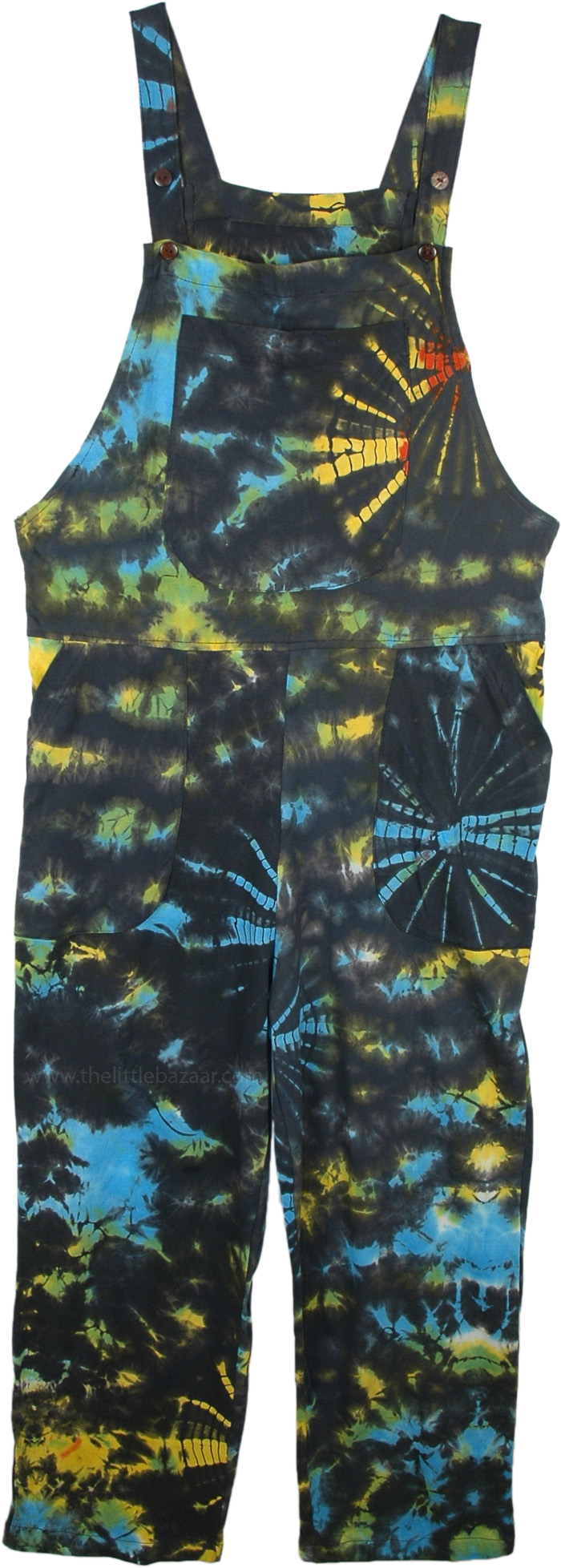 Summer Splash Tie Dye Hippie Dungaree in Cotton