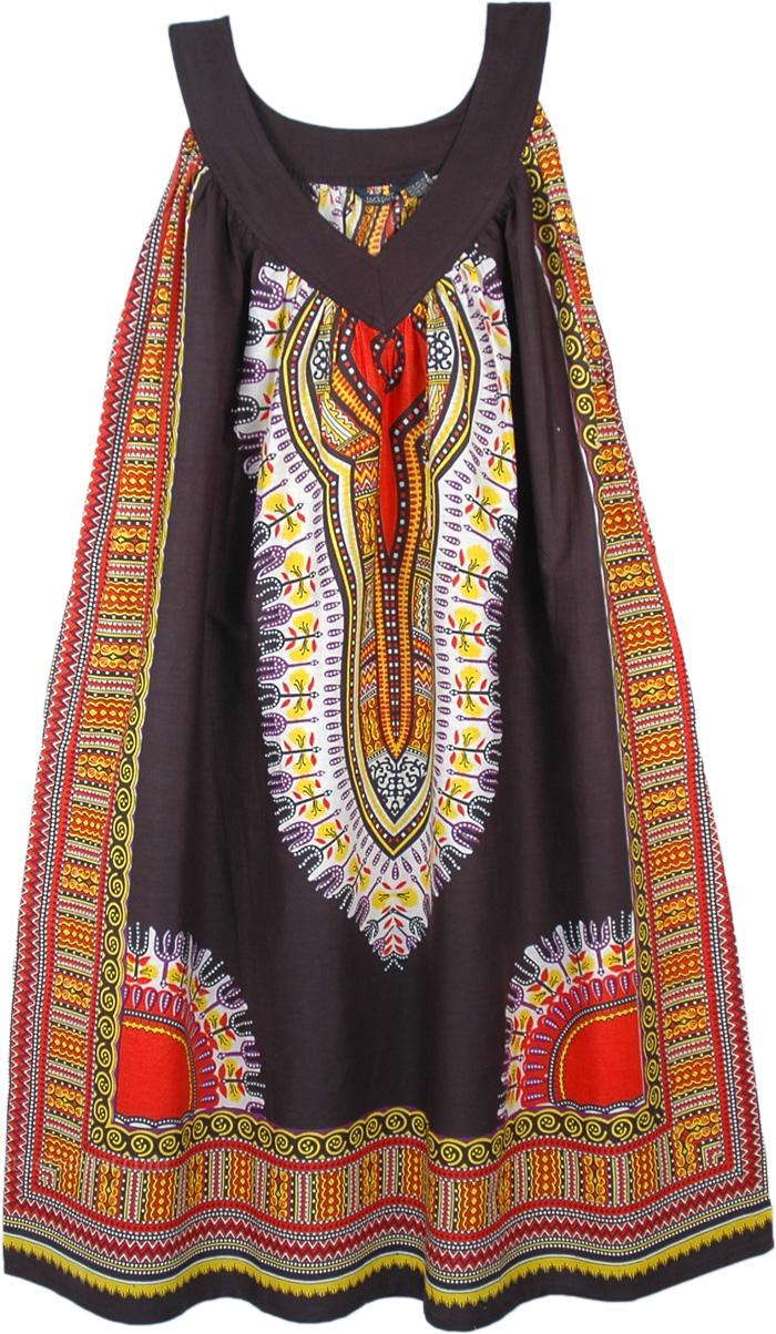 Cranberry Black Cotton Dashiki Sundress with Pockets