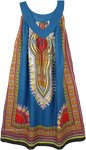 Mariner Blue Cotton Dashiki Sundress with Pockets