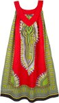 Bright Red Cotton Dashiki Sundress with Pockets