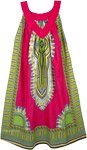 Ruby Pink Cotton Dashiki Sundress with Pockets