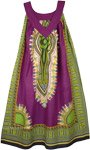 Dashiki Print Purple Free Size Cotton Sundress