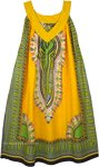 Dashiki Print Yellow Free Size Cotton Sundress