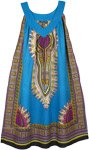 Dashiki Print Bright Blue Free Size Cotton Sundress