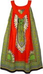 Cotton Dashiki Print Bright Orange Sundress with Pockets