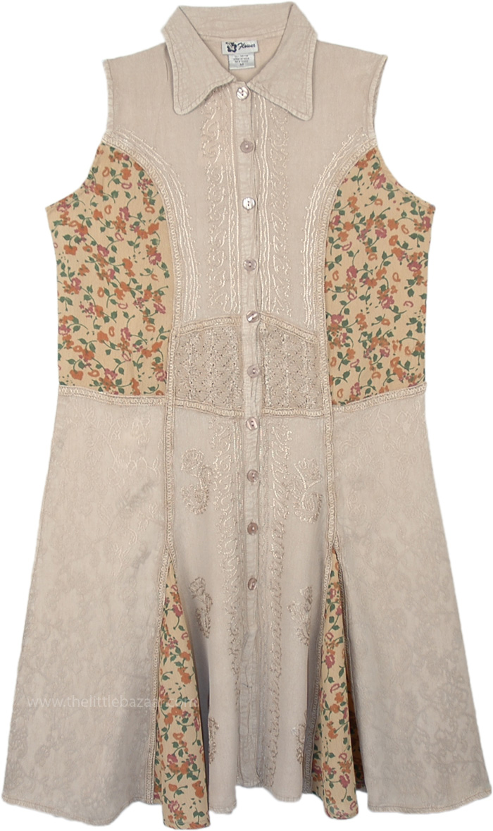 Bisque Beige Embroidered Sleeveless Buttoned Shirt Dress