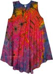 Free Size Trippy Tie Dye Sleeveless Umbrella Dress