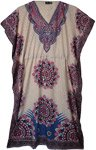V-Neck Kaftan Dress with Pink and Blue Mandala Print