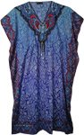 Blue Polyester Kaftan Dress with Paisley Print