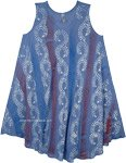 XL Lapis Blue Printed Sleeveless Sundress