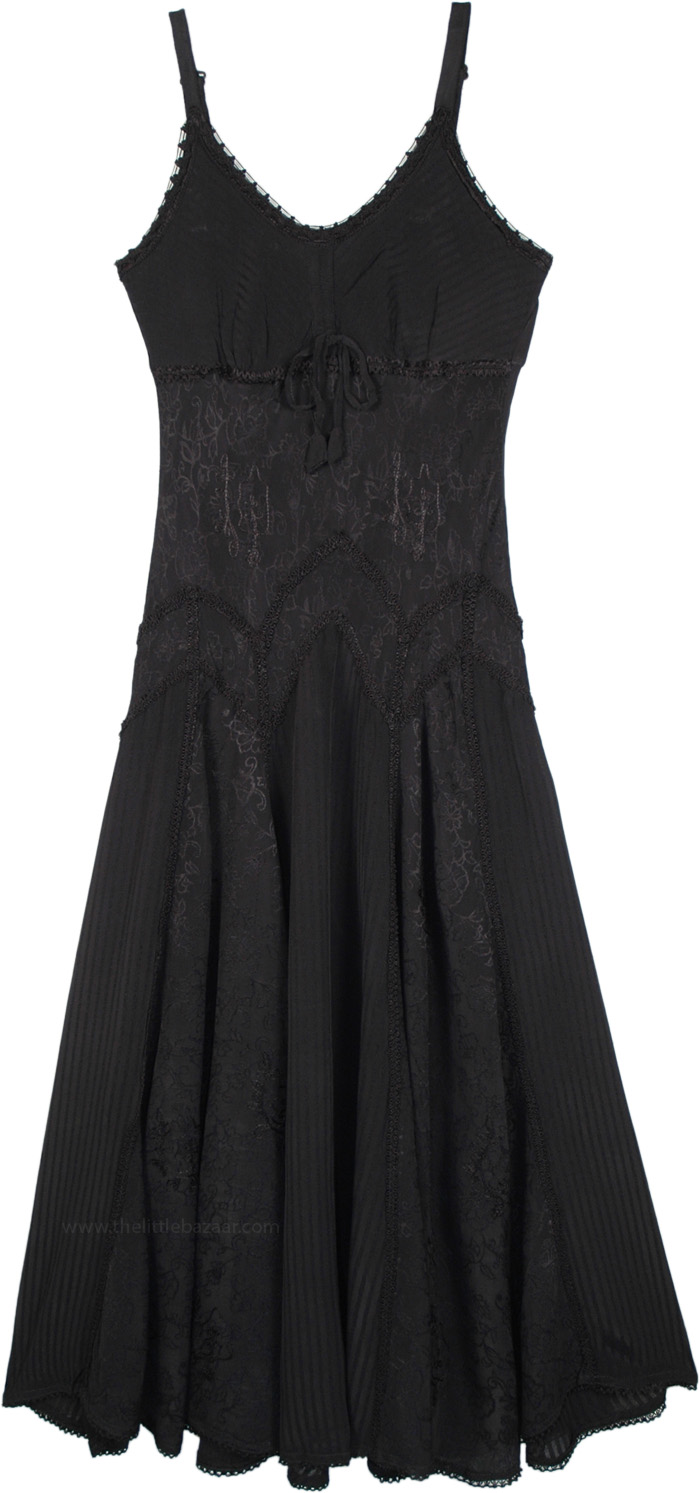 Midnight Black Renaissance Dress with Floral Embroidery