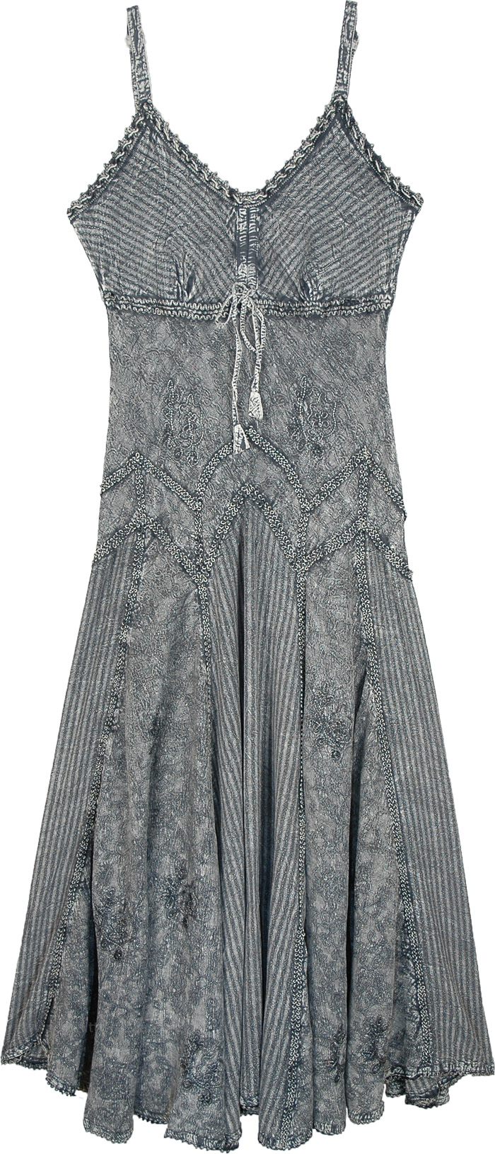 Fit and Flare Western Rodeo Long Dress in Pigeon Gray