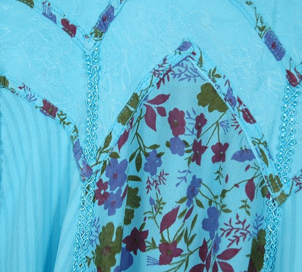 Aqua Blue Western Dress with Vertical Floral Panels