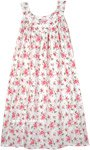 Cute Rose Floral White Sleeveless Cotton Night Dress