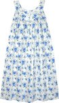 Blue White Printed Cotton Trapeze Dress