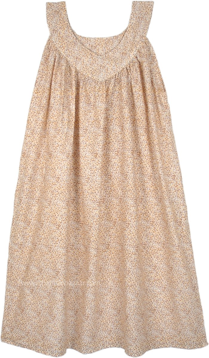 Beige Floral Flowing Pull Over Cotton Summer Dress