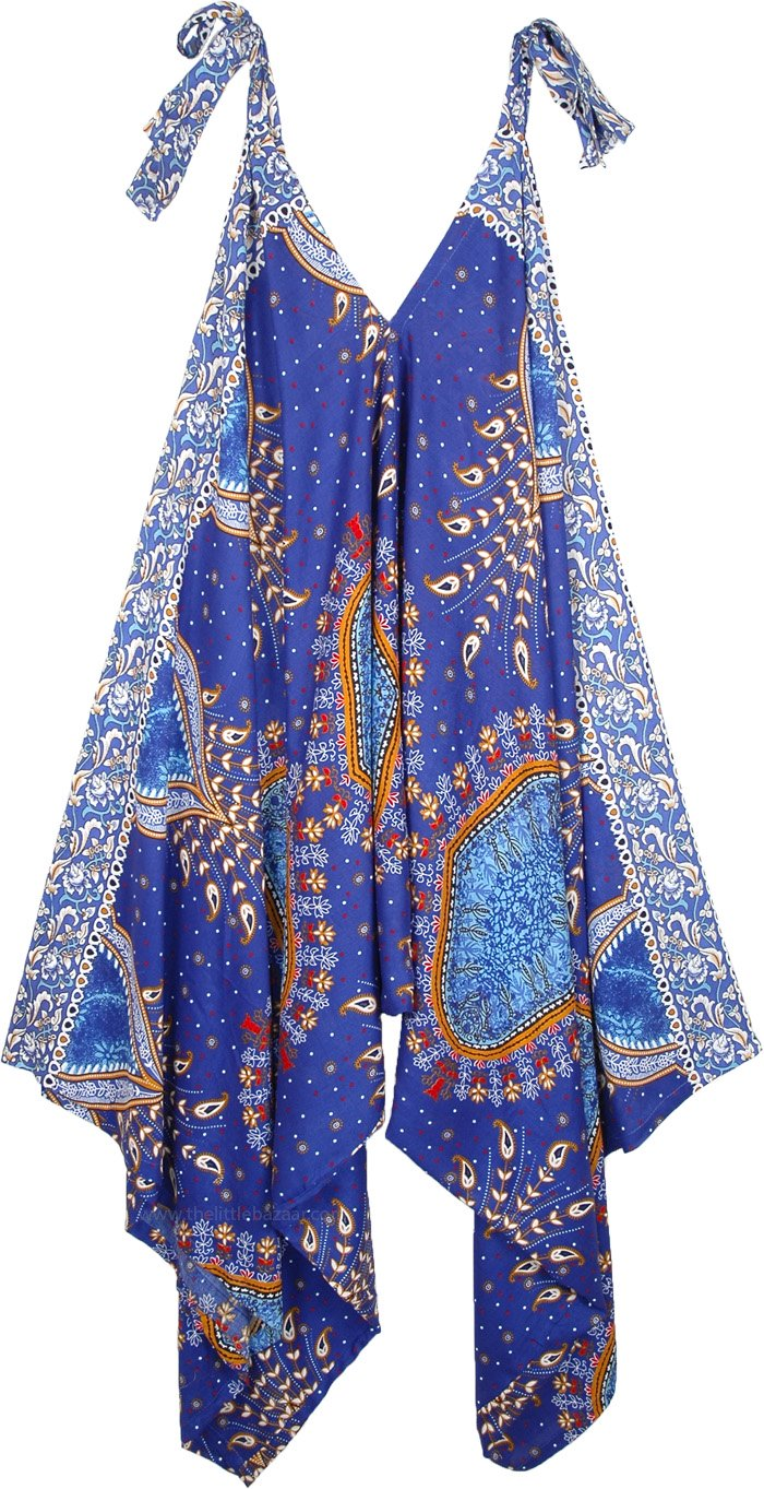Persian Peacock Feather Printed Harem Jumpsuit