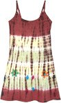 Rusty Brown Tie Dye Midi Length Jersey Cotton Dress