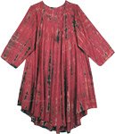 Chestnut Rose Full Sleeve Umbrella Dress with Tie Dye