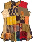 Early Fall Mixed Patchwork Rayon Dress Top
