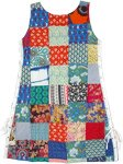 Urban Cotton Patchwork Sleeveless Midi Dress with All Along Side Ties