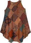 Dusky Brown Mixed Print Sleeveless Patchwork Dress