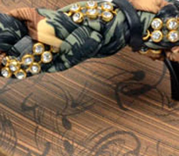 Rhinestone and Fabric Bohemian Flip Flops