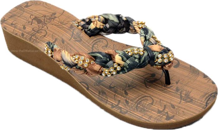 Ethnic Fabric Sandal with Shiny Stones, Rhinestone and Fabric Bohemian Flip Flops