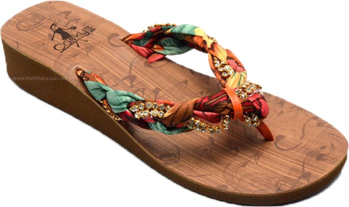 Womens Ethnic Fabric Sandal with Shiny Stones, Thong Style Womens Sandal in Rust