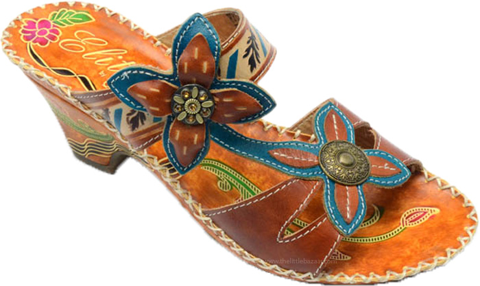 Boho Chic Glamour Ethnic Sandals, Hand-Painted Adjustable Leather Sandals