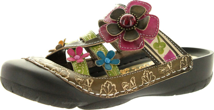 Slip-on Sandal in Green Multicolor, Slip-On Embossed Leather Summer Sandal
