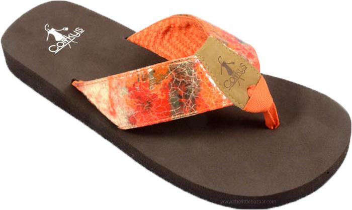 Flip Flops in Orange with Comfort Sole , Tango Summer Beach Flops
