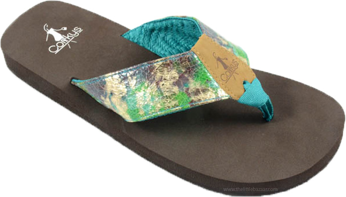 Flip Flops in Blue Green with Comfort Sole , Teal Gypsy Cruise Flip Flops