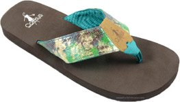 Flip Flops in Blue Green with Comfort Sole  [4386]
