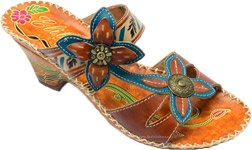 Hand-Painted Adjustable Leather Sandals