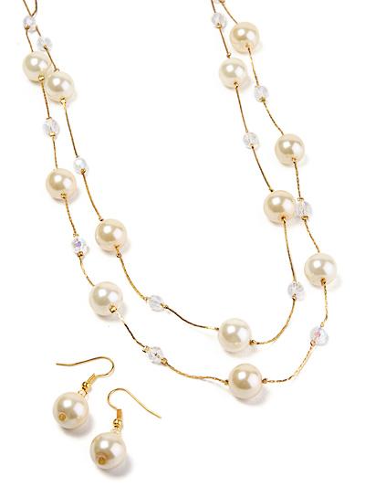 Cream tone beaded necklace, Cream Bead Jewelry