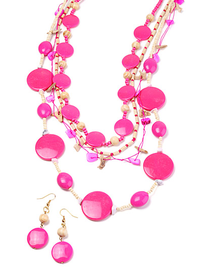 Pink wooden fashion jewelry set, Pink Wooden Bead Jewelry