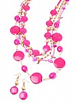Pink wooden fashion jewelry set [1013]