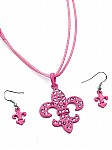 Pink Jewelry Corded Fleur de Lis