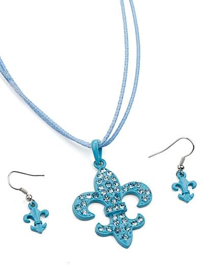Blue Fashion Jewelry, Blue Jewelry Corded Fleur de Lis