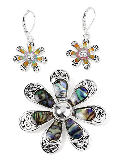 Pendant and earring set, Pendant Set in Silver Tone