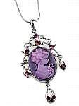 Purple Cameo Necklace with Pendant