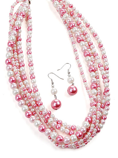 Pink Fashion Jewelry, Pink Beaded Necklace
