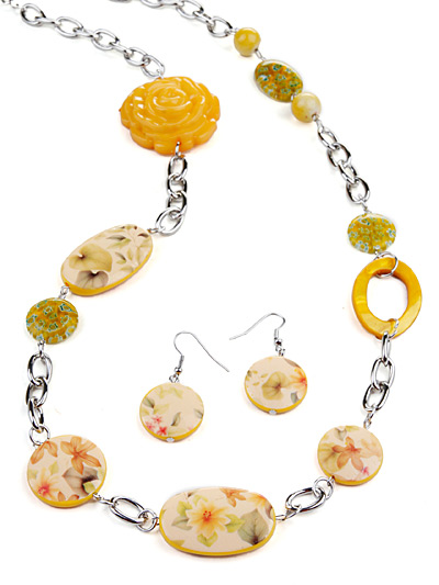Yellow  Fashion Jewelry, Yellow Beaded Necklace